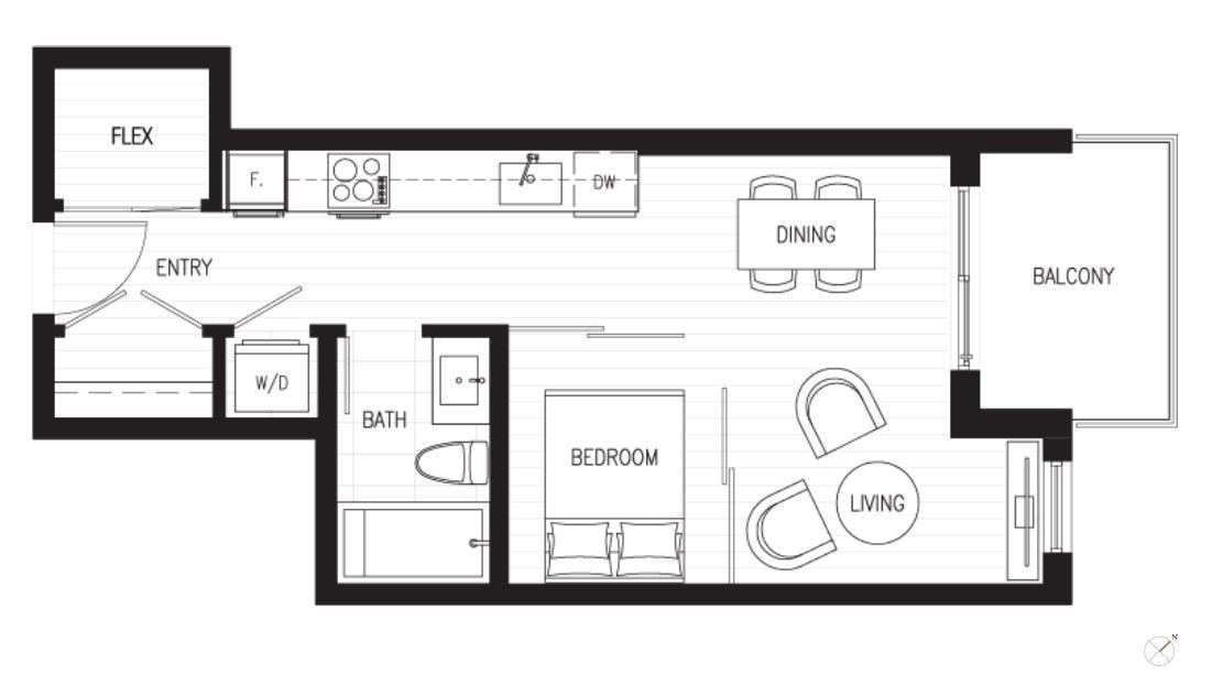 central-1bed-den-floor-plan